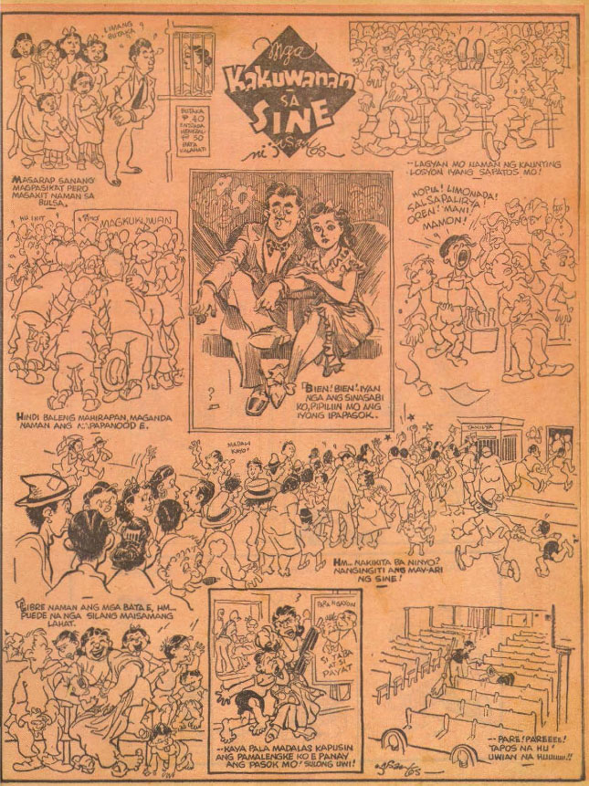 """Figure 4:""""Antics at the Cinema,"""" J. Zabala Santo. Though this cartoon dates to the 1950s, it demonstrates some of these ideas about the mass crowd.Source: Lopez Museum and Library"""