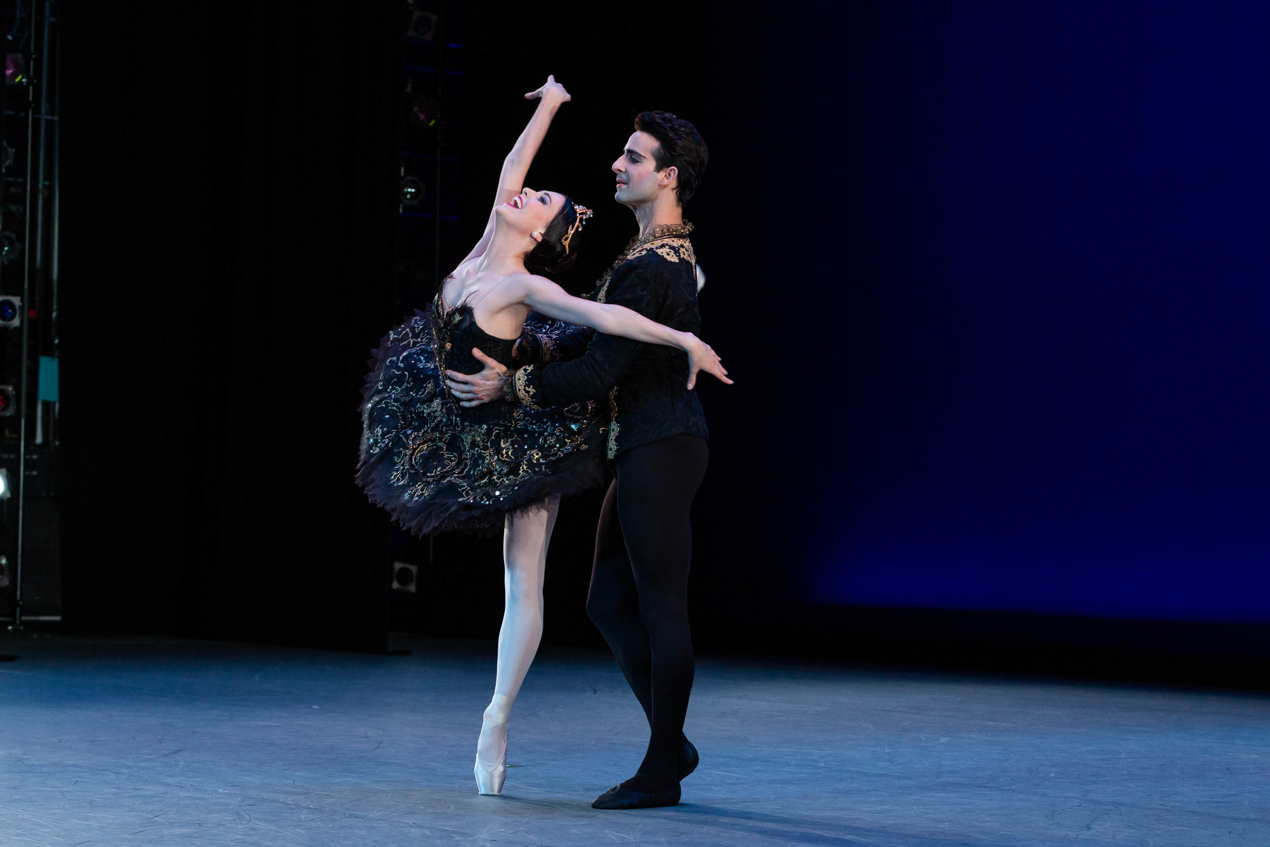 Katherine Barkman with Rolando Sarabia in the  Black Swan  pas de deux at The Washington Ballet. Photo by Mena Brunette of XMB Photography.