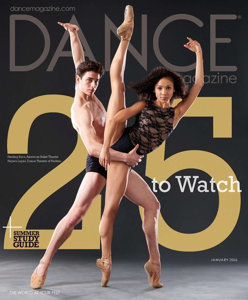 Pennsylvania Ballet's Nayara Lopes and Sterling Baca. Dance Magazine, January 2016. Photo by Nathan Sayers.