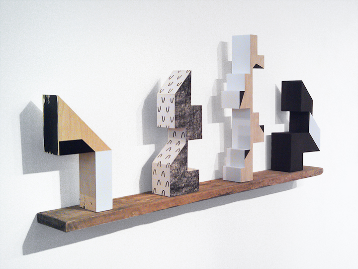 Dart, Nod, Steeple and Pivot   62 x 9 x 27 inches