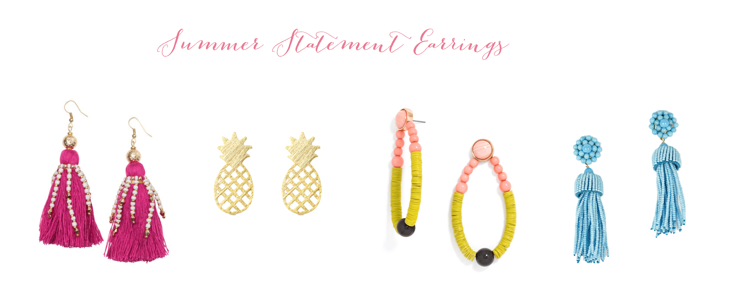Pink Tassels ,  Gold Pineapples ,  Multicolor Drops ,  Turquoise Tassels