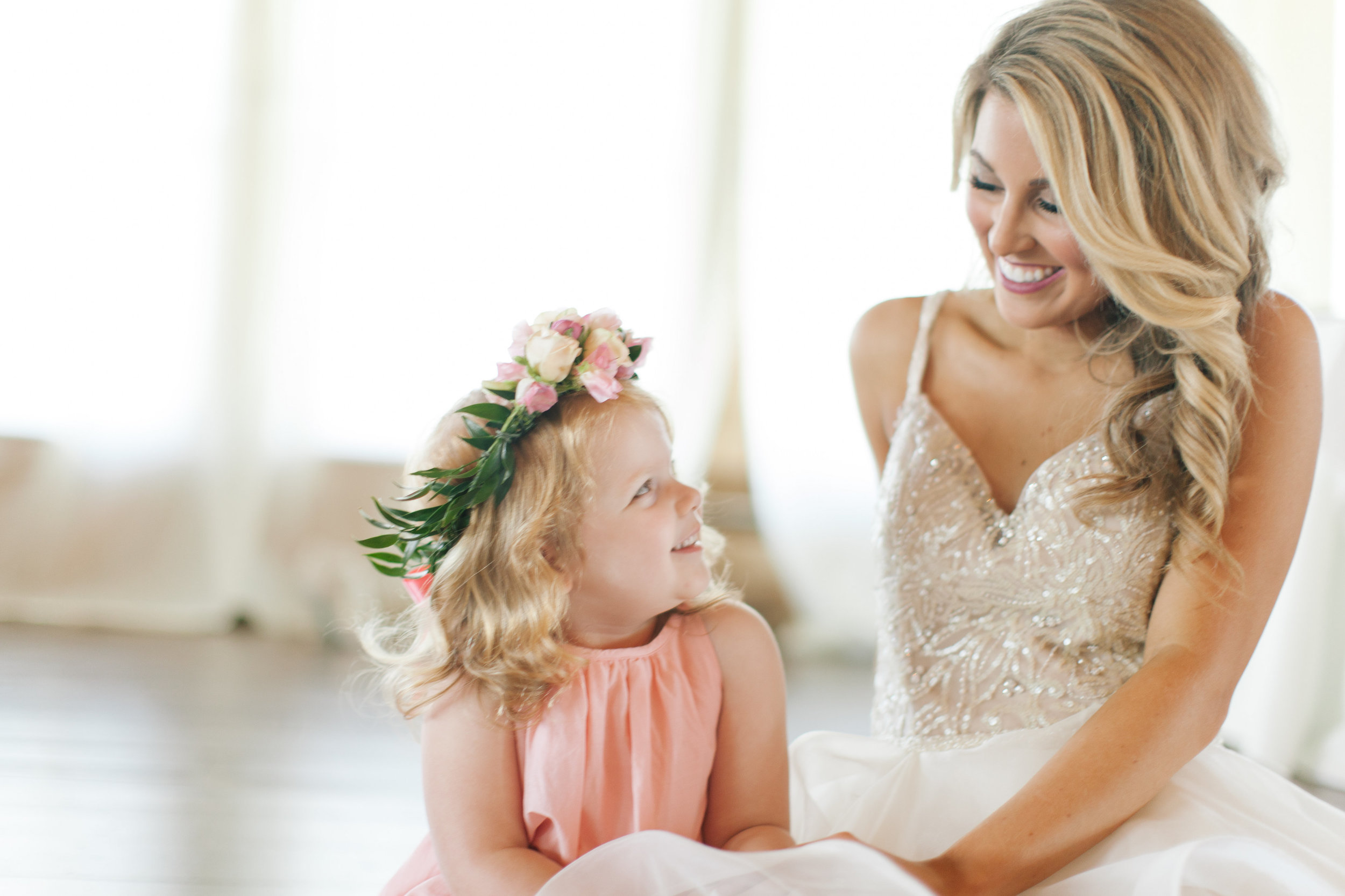Bliss OKC | Melanie Foster | Sweet Peach Styled Shoot Bride and Flower Girl; Flower Crown