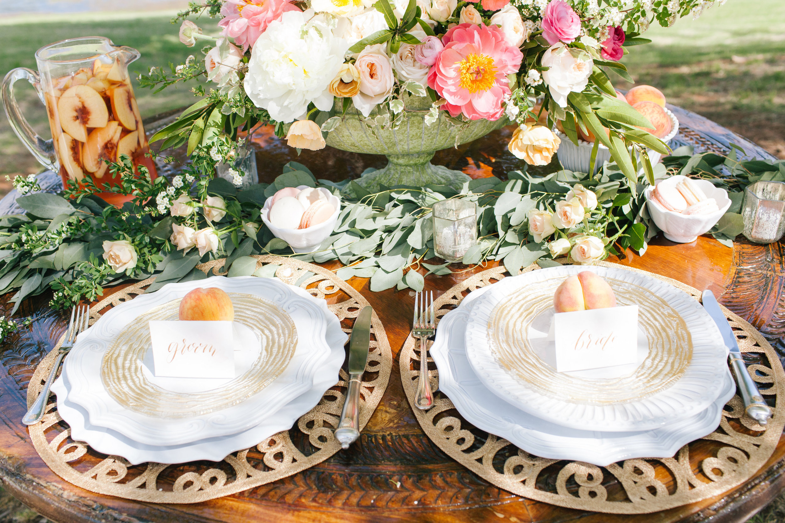 Bliss OKC | Melanie Foster | Sweet Peach Styled Shoot | Bride and Groom Table | Place Settings