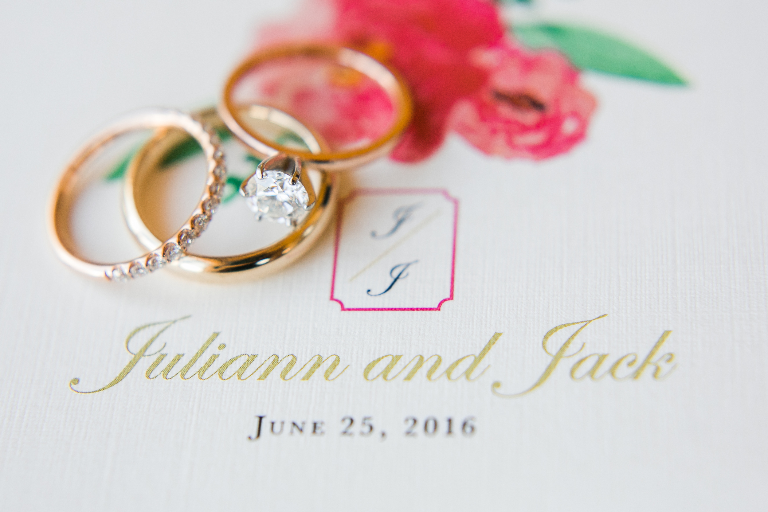 Bliss OKC | Aubrey Marie Photography | Touies Design | Pink and Gold Invitations | Wedding Rings