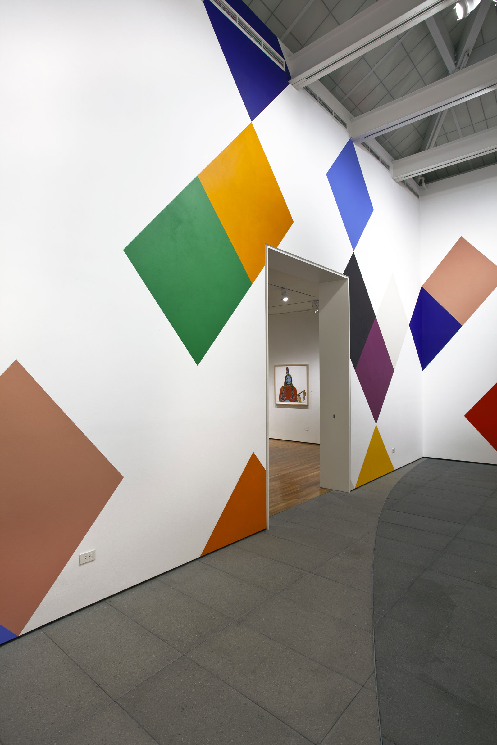 """Stars and Candywrappers , 2015, 18'6"""" x 100', wall painting installed on all four walls of the Nachman Gallery, Museum of Art, Design and Architecture,University of California Santa Barbara.On view September 25, 2015-May 1, 2016."""