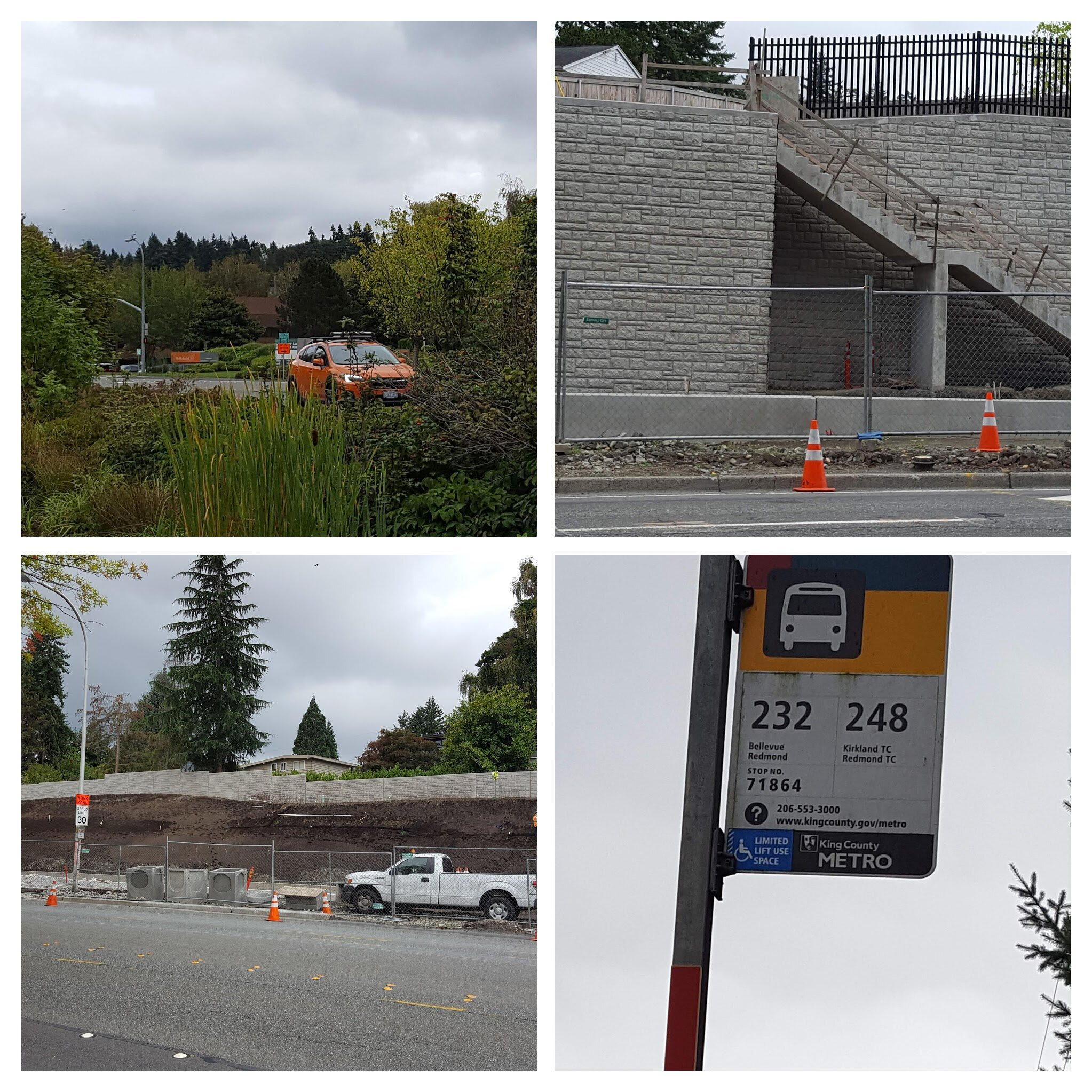 Top left: approaching the office park; top right: a stairway that will probably be part of a future light rail station; bottom left: light rail construction; bottom right: waiting for the bus
