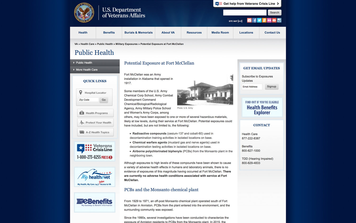 The official U.S. Department of Veterans Affairs website listing toxins that Fort McClellan personnel were possibly exposed to and describing the potential exposure levels as not high enough to cause health problems for the veterans. https://www.publichealth.va.gov/exposures/fort-mcclellan/