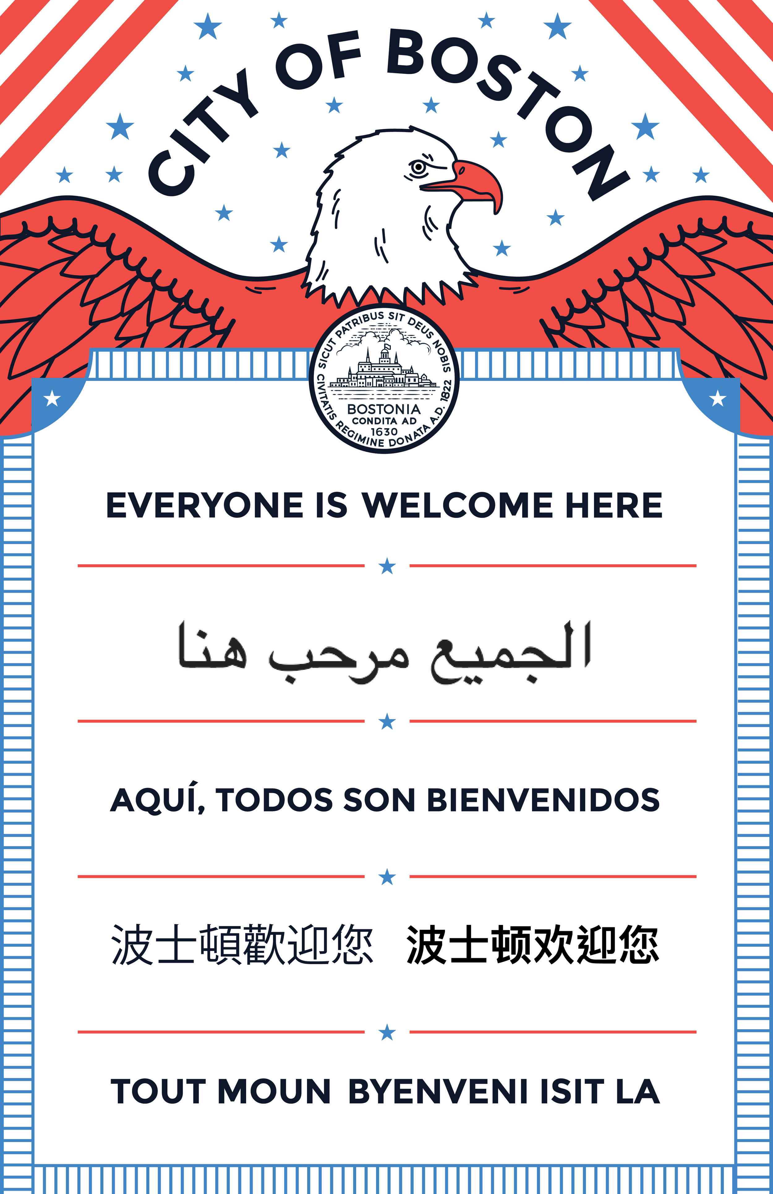 EVERYONE IS WELCOME HERE     Poster for the City of Boston   Featured on the Boston, Massachusetts Facebook page  link   Winner of the GDUSA 2017 Inhouse Design Award