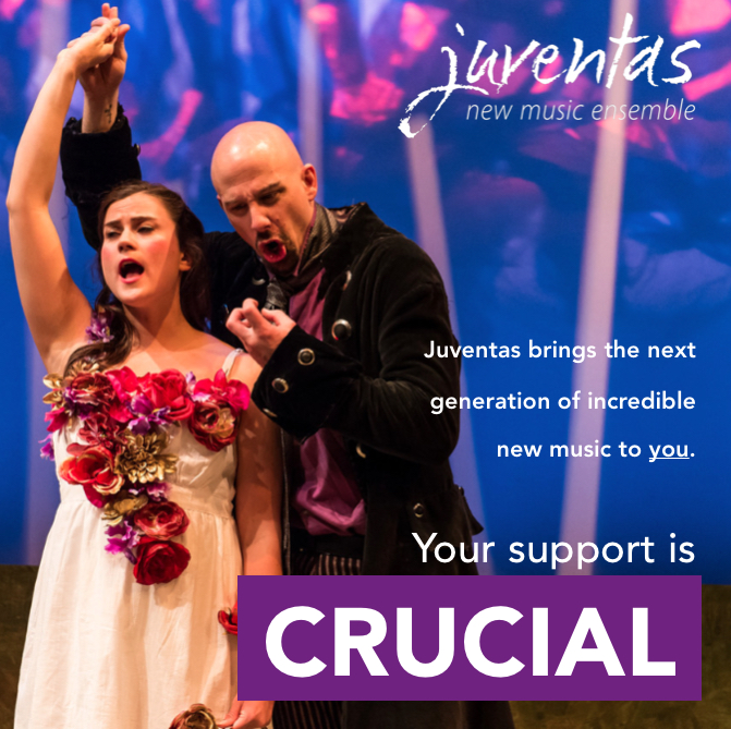 Digital fundraising call to action for Juventas New Music Ensemble (2017)