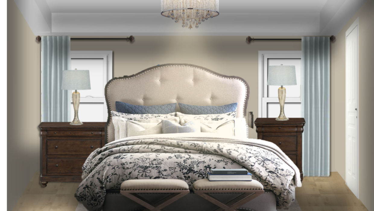 michaelhelwiginteriors.com online interior e-design french country farmhouse bedroom