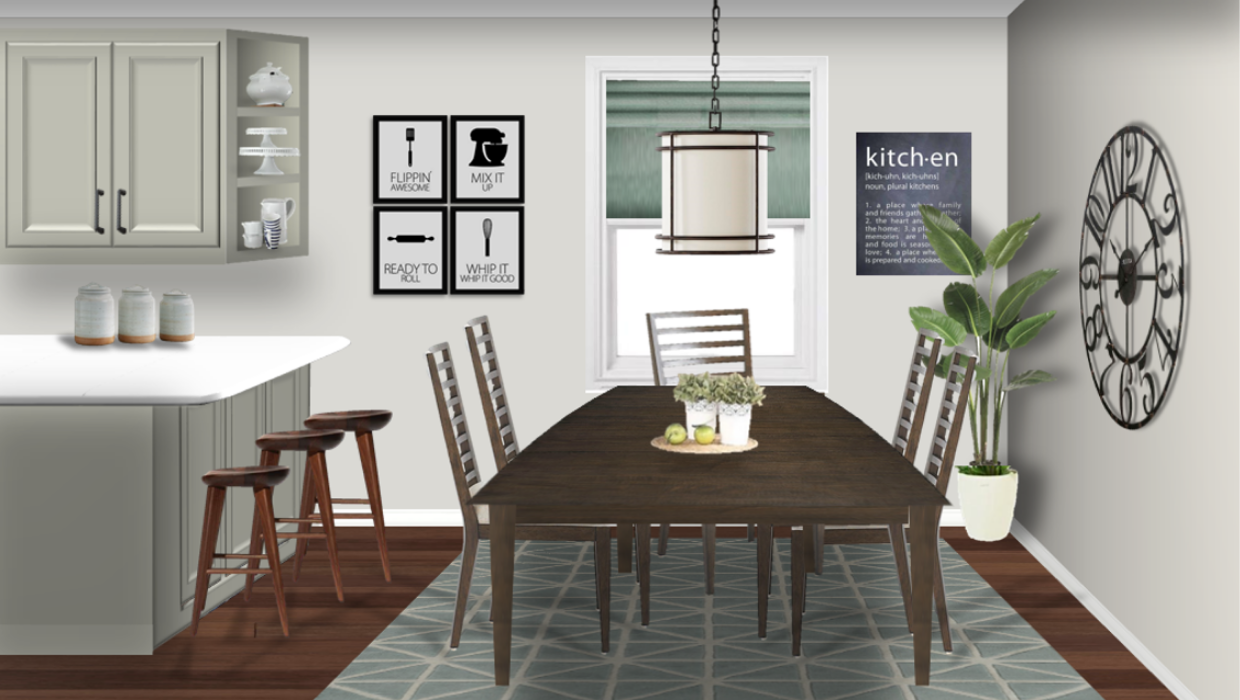 michaelhelwiginteriors.com online interior e-design modern farmhouse breakfast room kitchen
