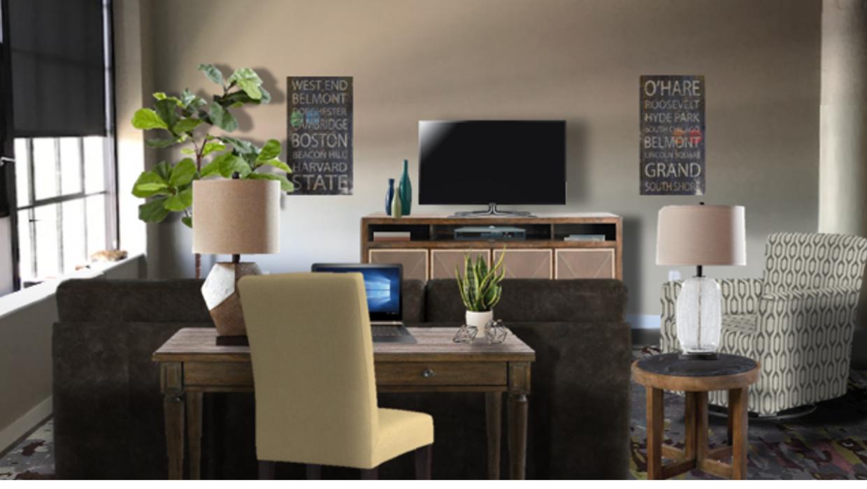 michaelhelwiginteriors.com online interior e-design industrial modern loft living room