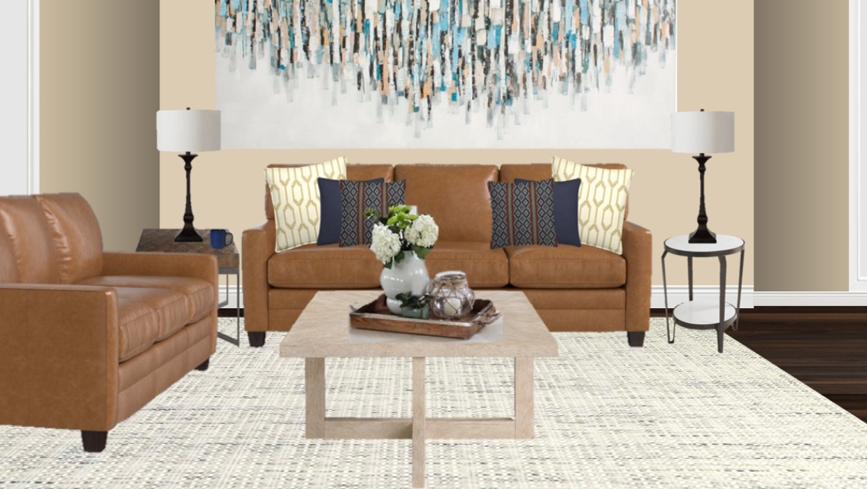 michaelhelwiginteriors.com online interior e-design carmel transitional leather living room