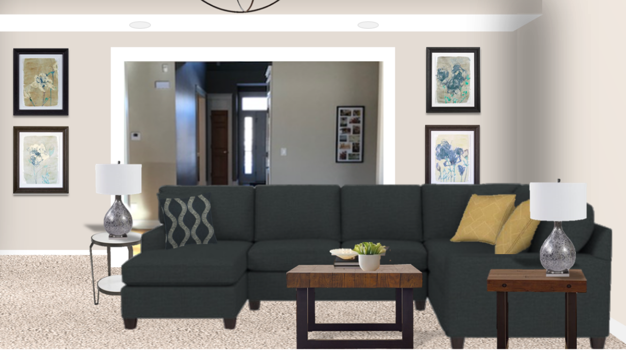 michaelhelwiginteriors.com online interior e-design dark grey sectional modern living room