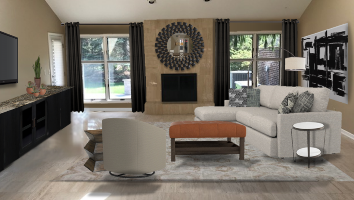 michaelhelwiginteriors.com online interior e-design contemporary family room beige orange charcoal