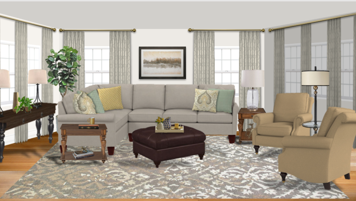 michaelhelwiginteriors.com online interior e-design transitional family room gray and beige