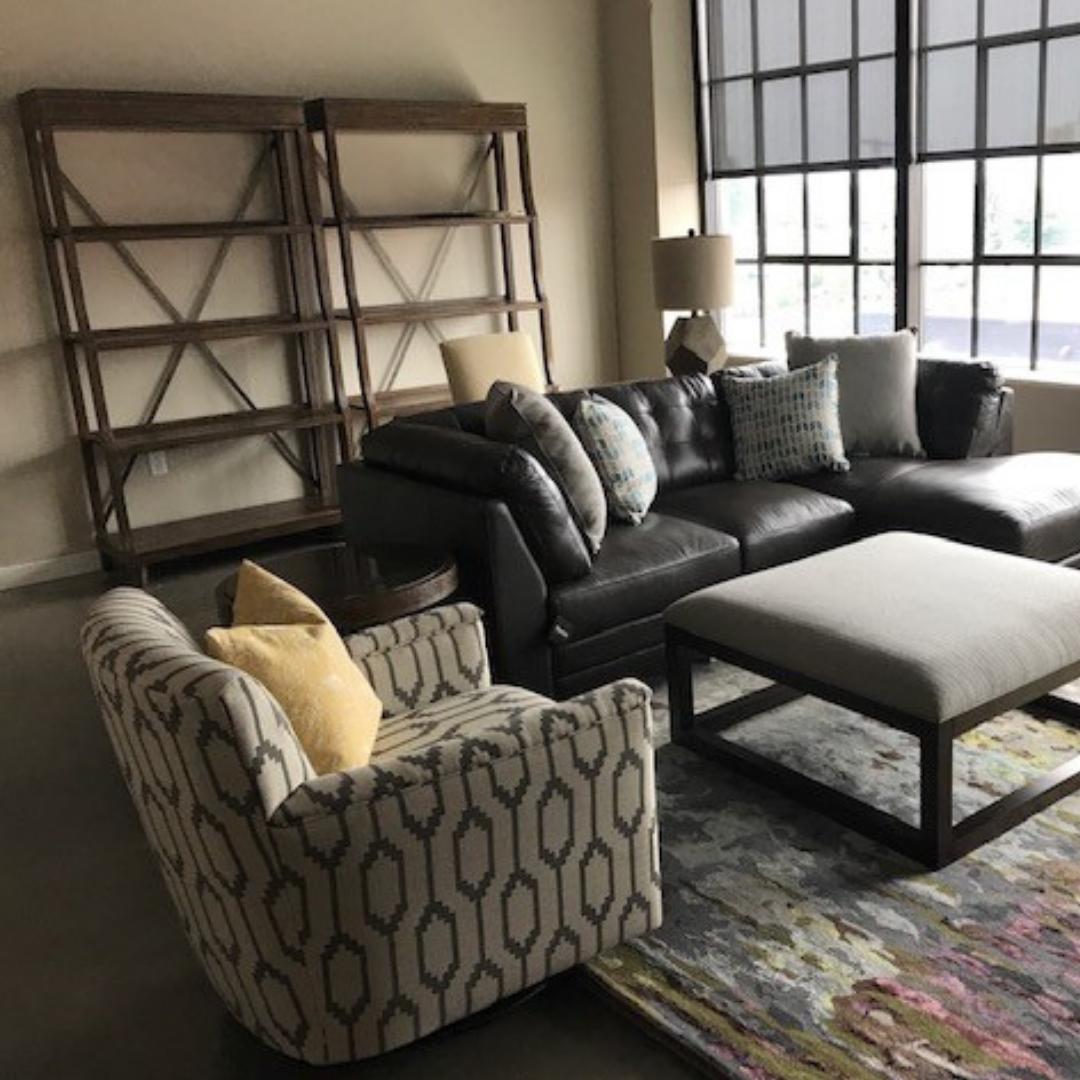 Urban Modern Loft geometric swivel chair leather chaise sectional open etageres modern rug industrial windows | Michael Helwig Interiors |