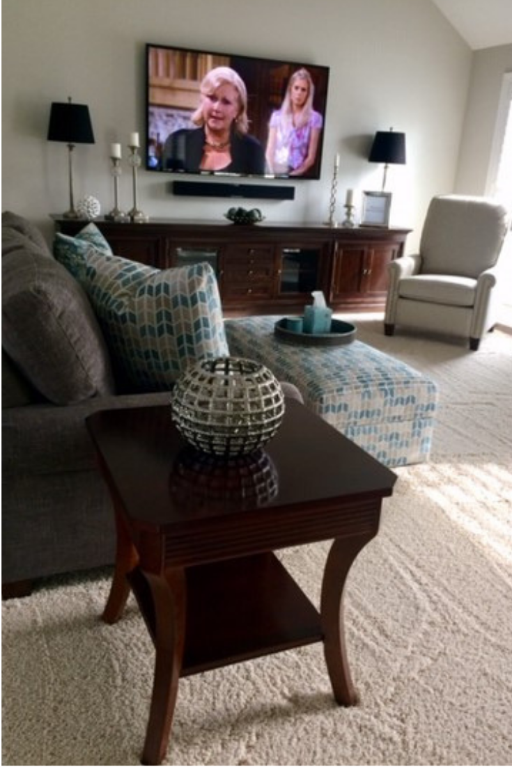 Transitional gray sofa espresso end tables custom low media cabinet white traditional recliner in revolution fabric | Michael Helwig Interiors |