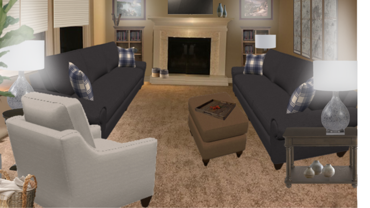 Matching gray custom sofas and slope arm white chairs in revolution fabric concept e-design online interior design | Michael Helwig Interiors |