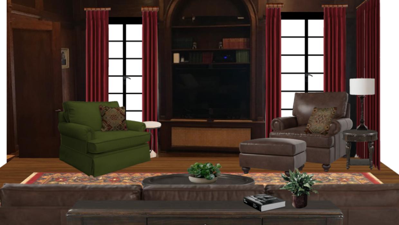 traditional leather and forest green velvet chairs dark red velvet drapes concept e-design online interior design | Michael Helwig Interiors |