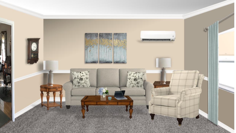 Transitional farmhouse rustic pine tables neutral check plaid chair concept e-design online interior design | Michael Helwig Interiors |