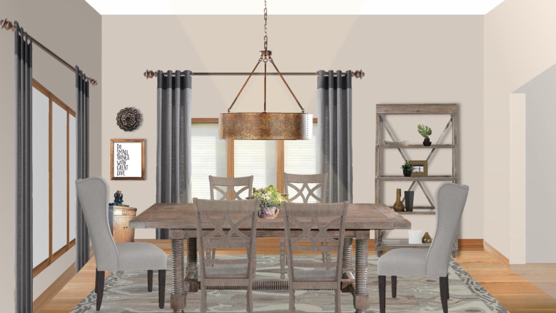 rustic industrial farmhouse table upholstered captain chairs light oak etagere concept e-design online interior design | Michael Helwig Interiors |