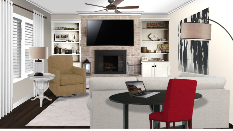 white sectional carmel leather swivel chair gate leg table transitional modern concept e-design online interior design  | Michael Helwig Interiors |