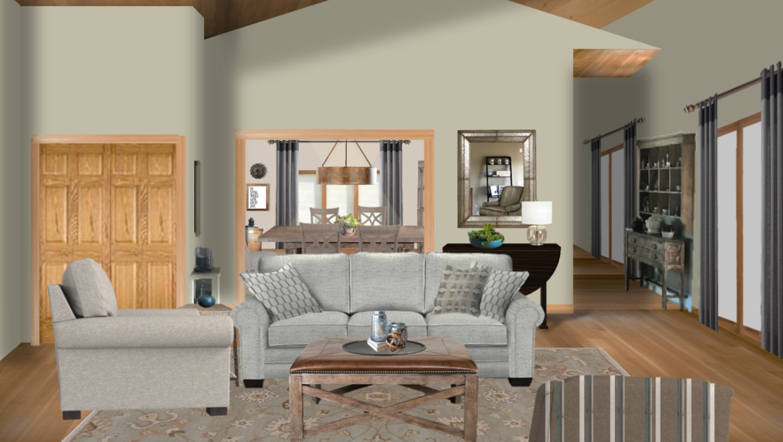 Traditional farmhouse gray sofa and matching chair stripe swivel glider concept e-design online interior design | Michael Helwig Interiors |