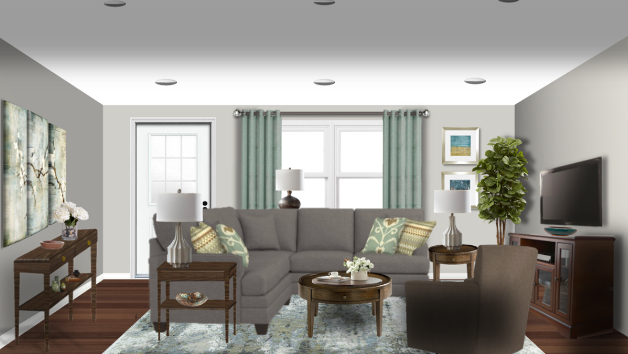 Transitional farmhouse gray sectional blues taupe brown concept e-design online interior design | Michael Helwig Interiors |