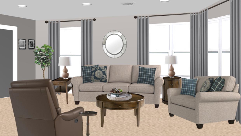 Transitional farmhouse gray sofa blue pillows plaid floral coco leather concept e-design online interior design | Michael Helwig Interiors |