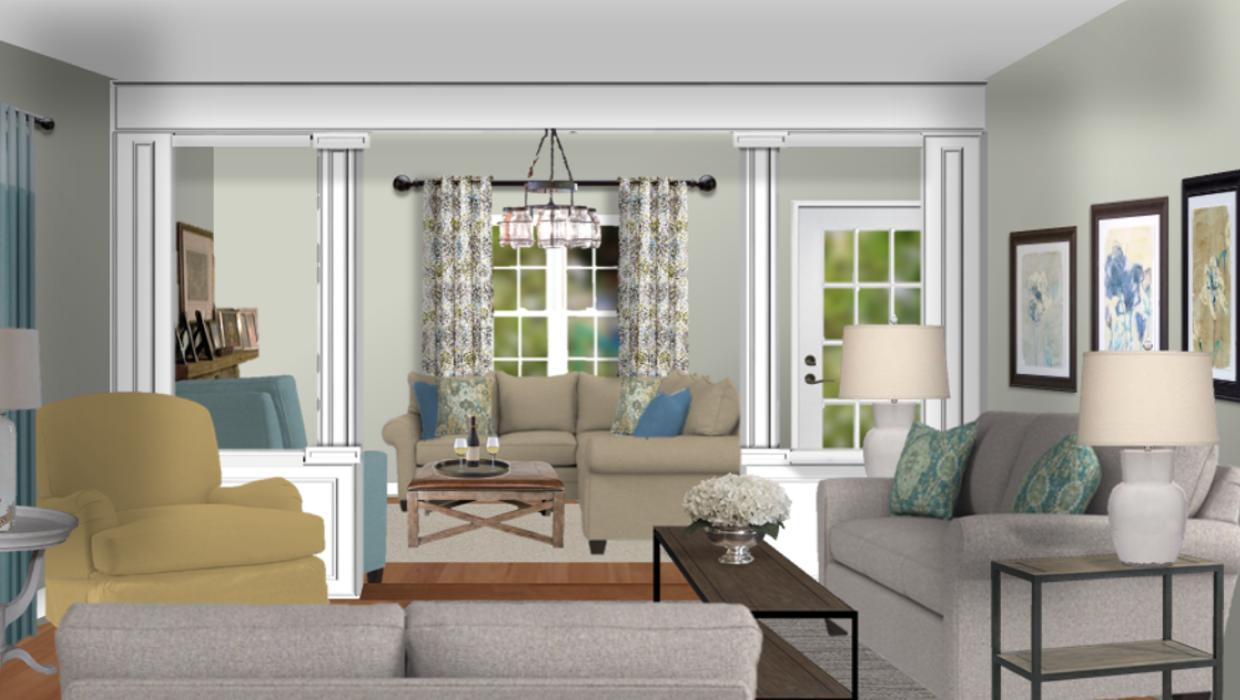 Transitional farmhouse family room living room with floral accents concept e-design online interior design | Michael Helwig Interiors |