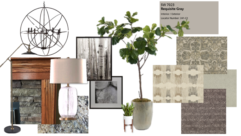 modern farmhouse natural mood board concept e-design online interior design | Michael Helwig Interiors |