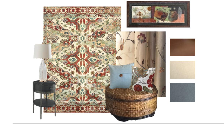 colorful blue rust and beige mood board concept e-design online interior design | Michael Helwig Interiors |