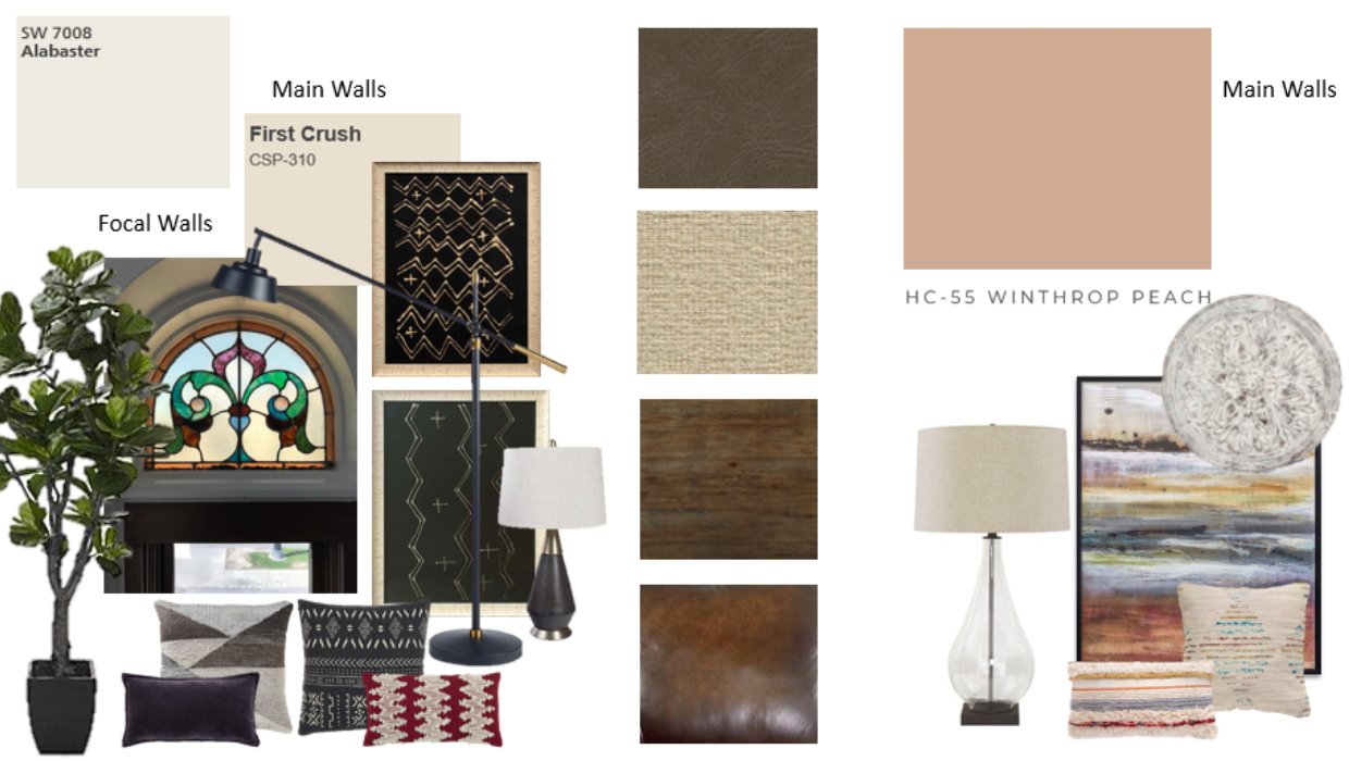 traditional family room living room with modern touches art mood board concept e-design online interior design | Michael Helwig Interiors |