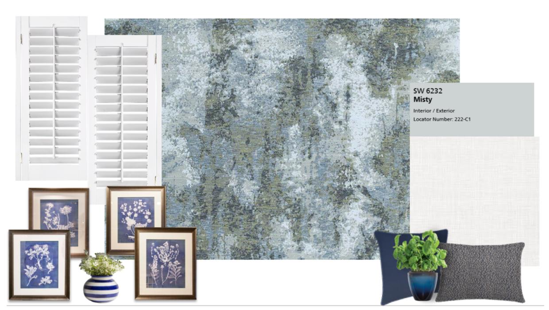 blue and white coastal mood board concept e-design online interior design | Michael Helwig Interiors |