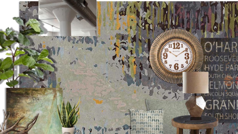 Rustic industrial loft e-design online interior design | Michael Helwig Interiors |