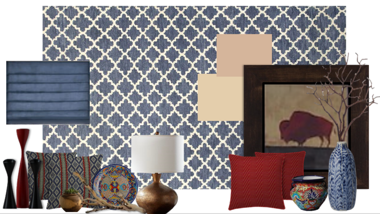 blue transitional with hints of Aztec southwestern e-design online interior design | Michael Helwig Interiors |