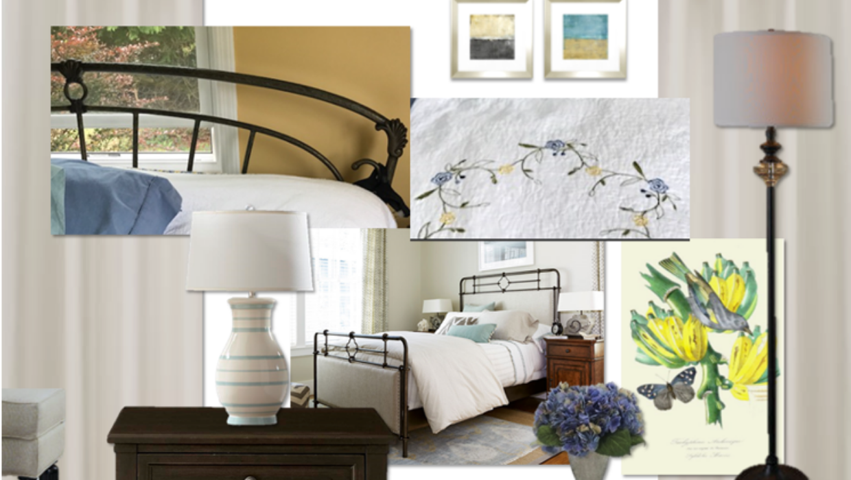 modern French country bedroom with bronze accents e-design online interior design | Michael Helwig Interiors |