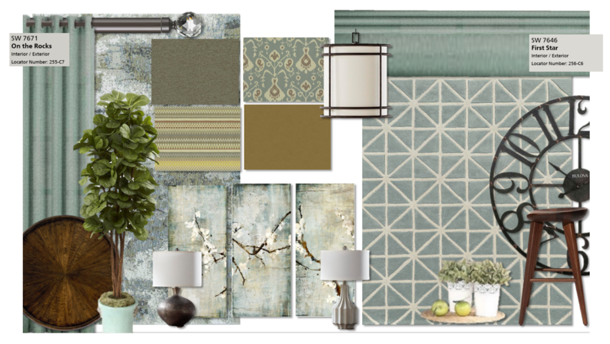 Modern farmhouse blues and taupe with gray walls e-design online interior design | Michael Helwig Interiors |