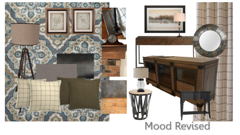 Transitional rustic simply enhanced e-design online interior design | Michael Helwig Interiors |