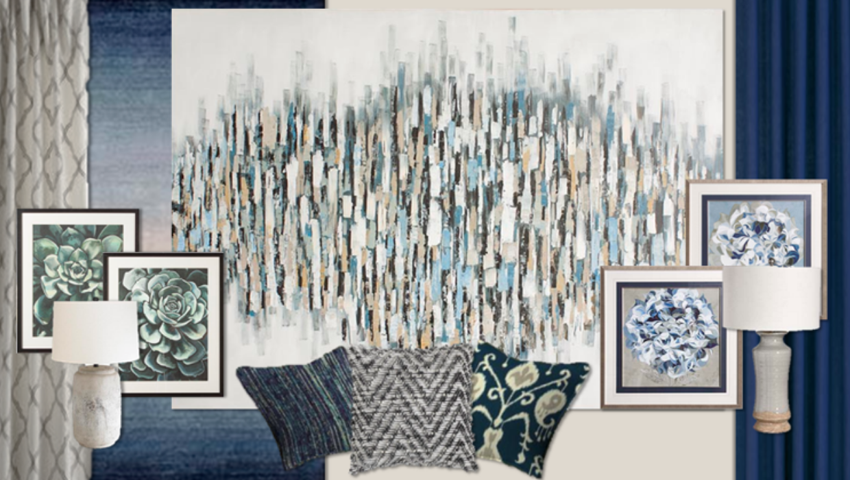 transitional traditional blues and grays e-design online interior design | Michael Helwig Interiors |