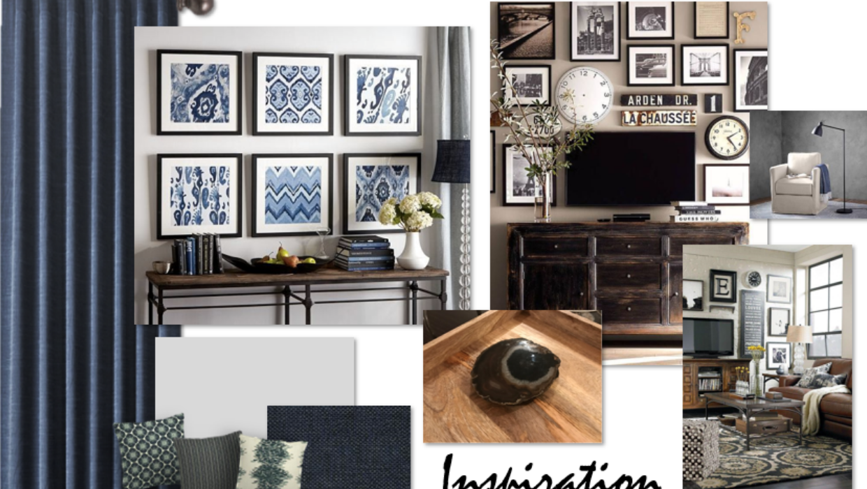 transitional traditional blues and grays natural materials e-design online interior design | Michael Helwig Interiors |