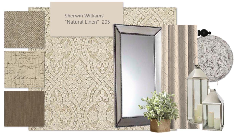 neutral beige and white transitional e-design online interior design | Michael Helwig Interiors |