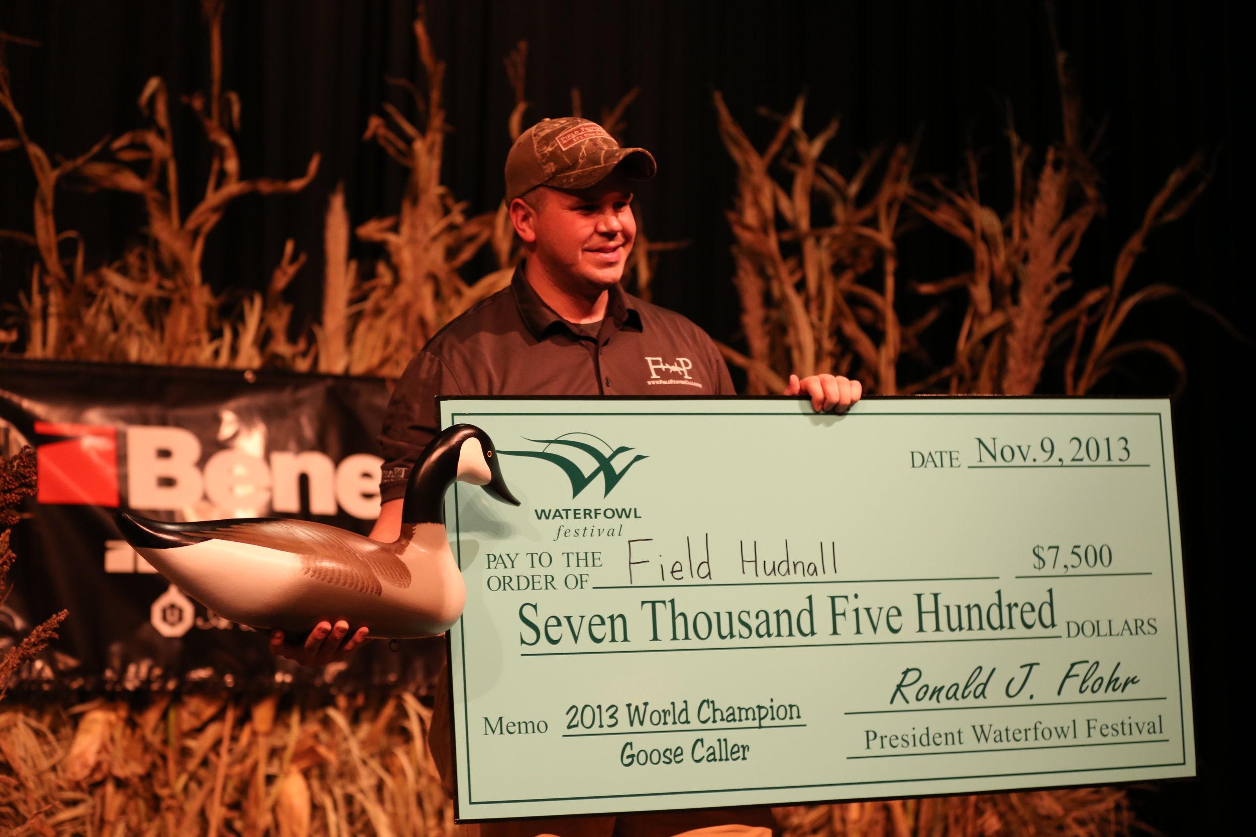 Field winning the 2013 World Goose Calling Championship..JPG