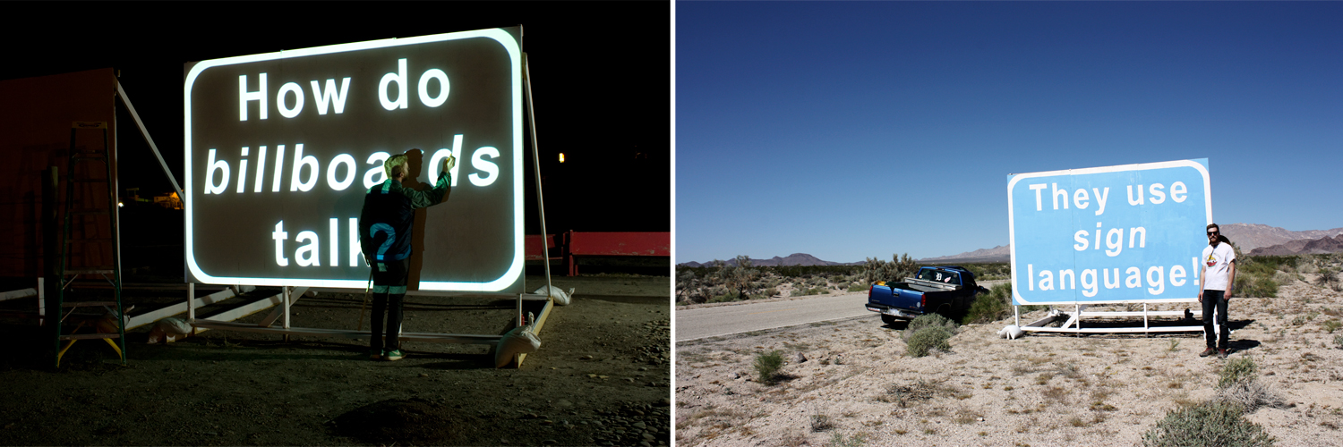 Tracing the letters of the first sign. The completed punchline sign on Kelbaker Rd. near Amboy, CA.