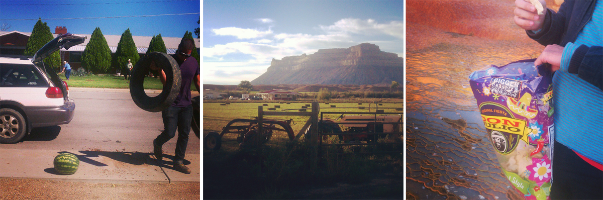 Frontier Fellow Dylan Adams unloading supplies for the Seed Spittin' contest. Hay bales and Book Cliffs looking especially picturesque. Snackin' at Crystal Geyser.