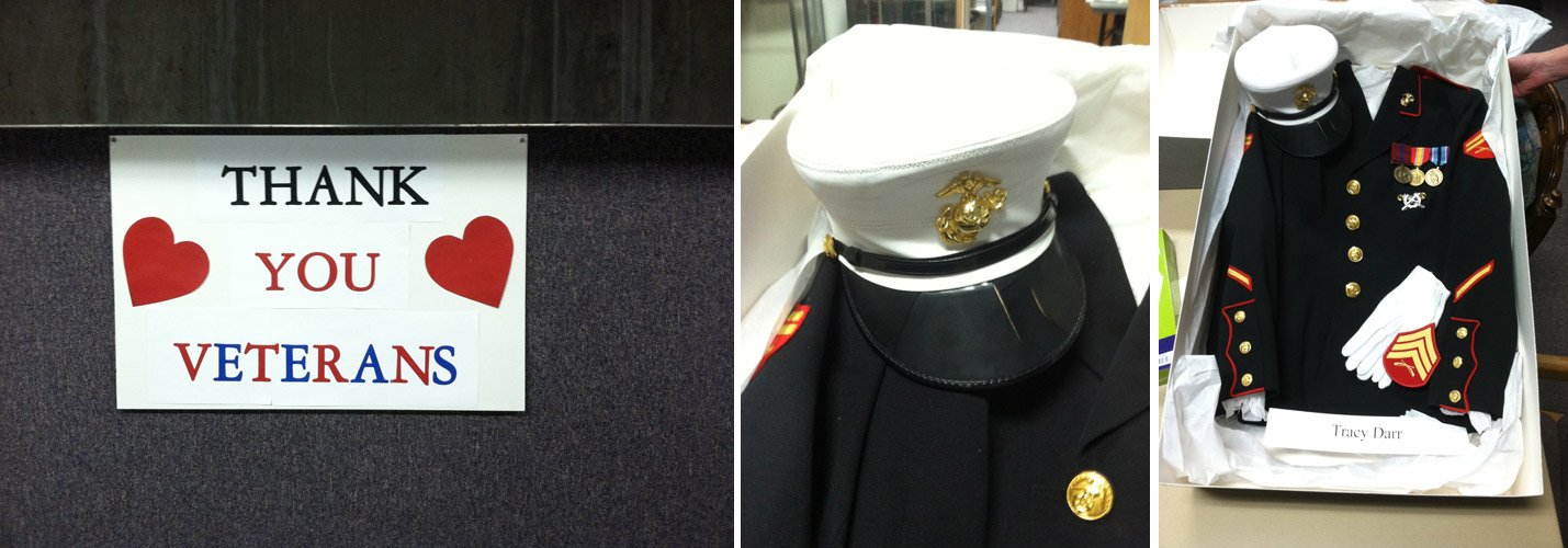 Selections from the Green River History Museum Veterans Archives, featuring the dress blues of Epicenter board member and U.S. Marine, Tracy Siaperas (formerly Tracy Darr).