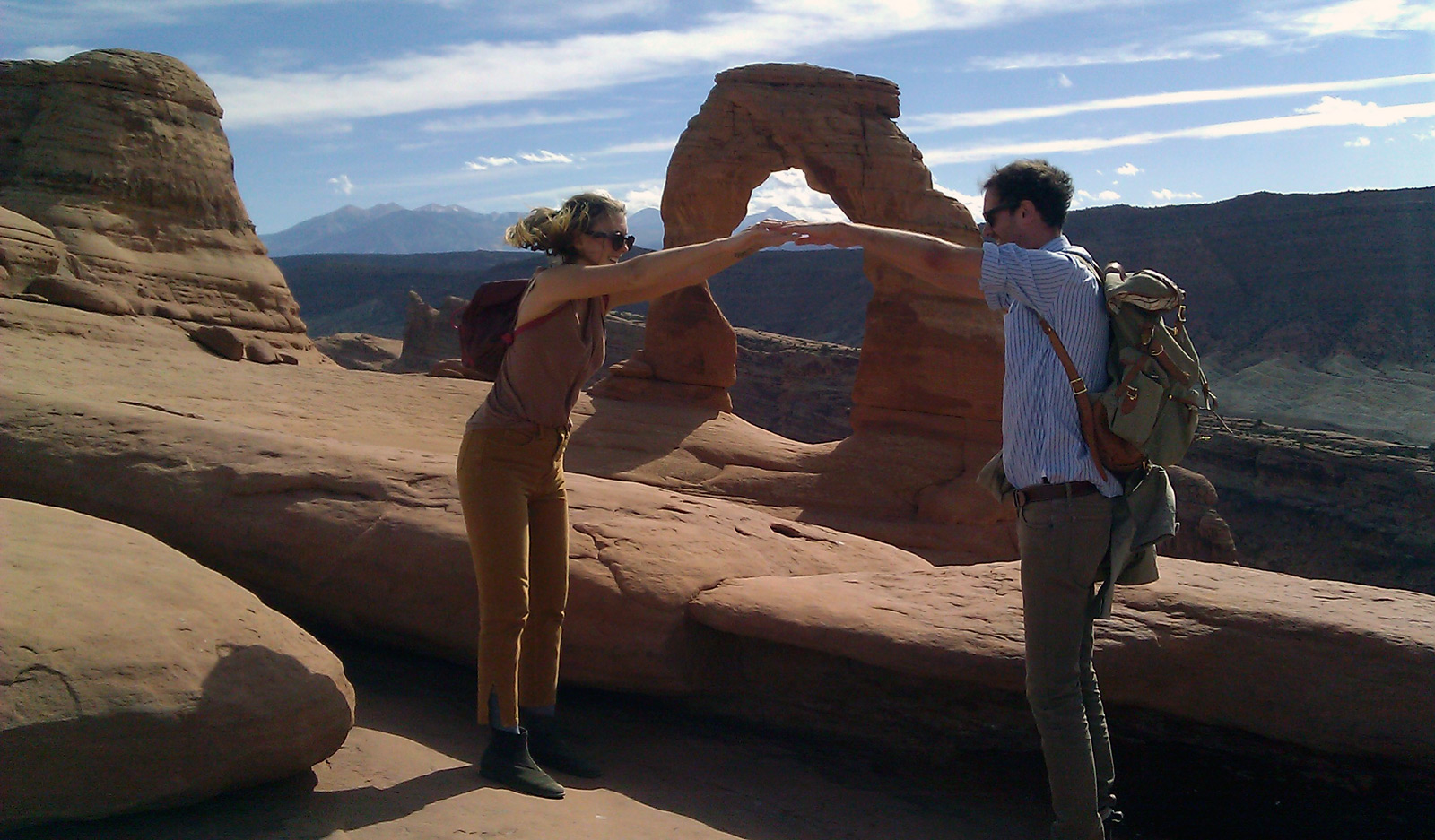 Aidan Koch and Shawn Creeden at Delicate Arch in Arches National Park, Utah