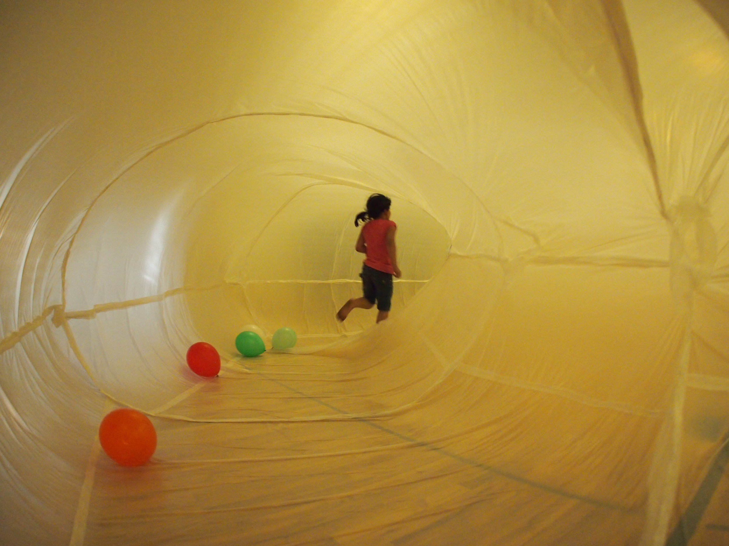 Inside an inflatable.
