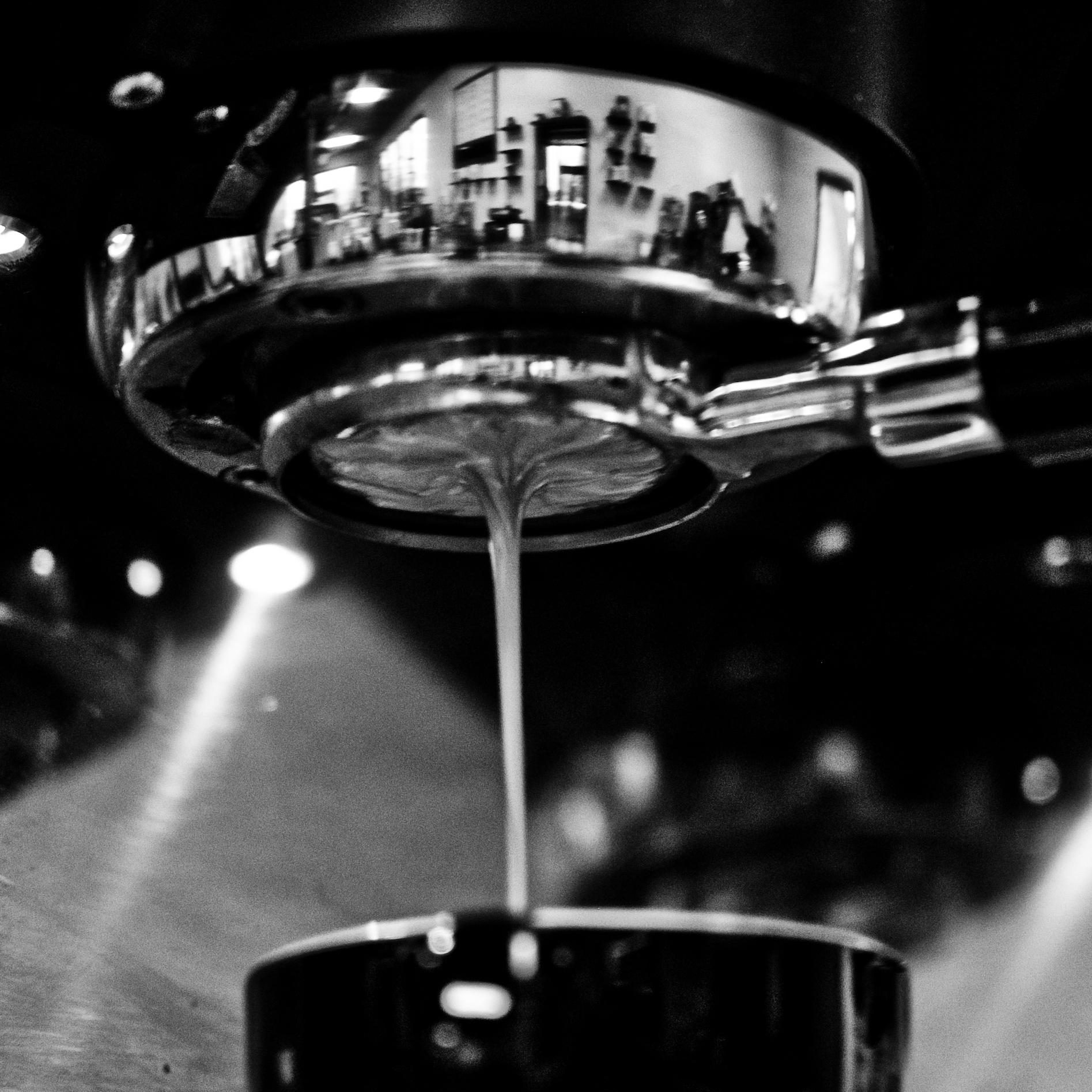 Bottomless portafilter brewing shots of espresso